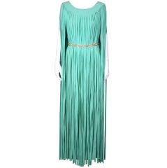 Seafoam Chiffon Italian Bias Strip Gown