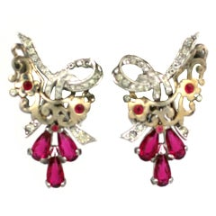 Marcel Boucher Retro Ruby Earclips