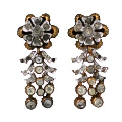 De Rosa Retro  Sterling Silver Floral Earclips