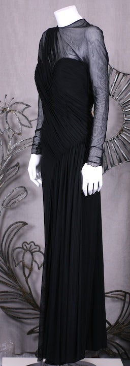 Black Vicky Tiel Draped Illusion and Matte Jersey Gown For Sale
