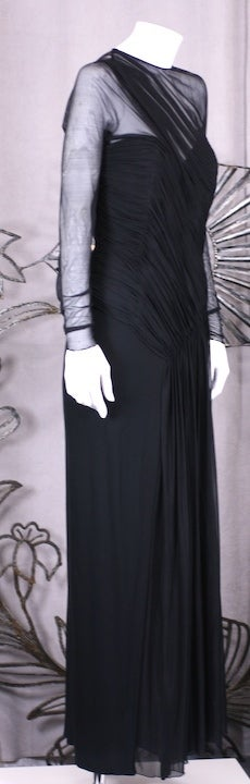Vicky Tiel Draped Illusion and Matte Jersey Gown In Excellent Condition For Sale In Riverdale, NY
