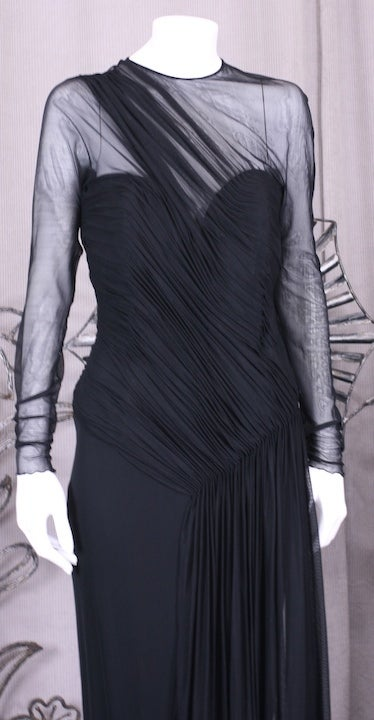 Women's Vicky Tiel Draped Illusion and Matte Jersey Gown For Sale
