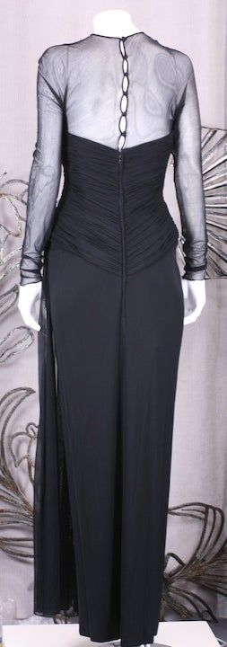 Vicky Tiel Draped Illusion and Matte Jersey Gown For Sale 1