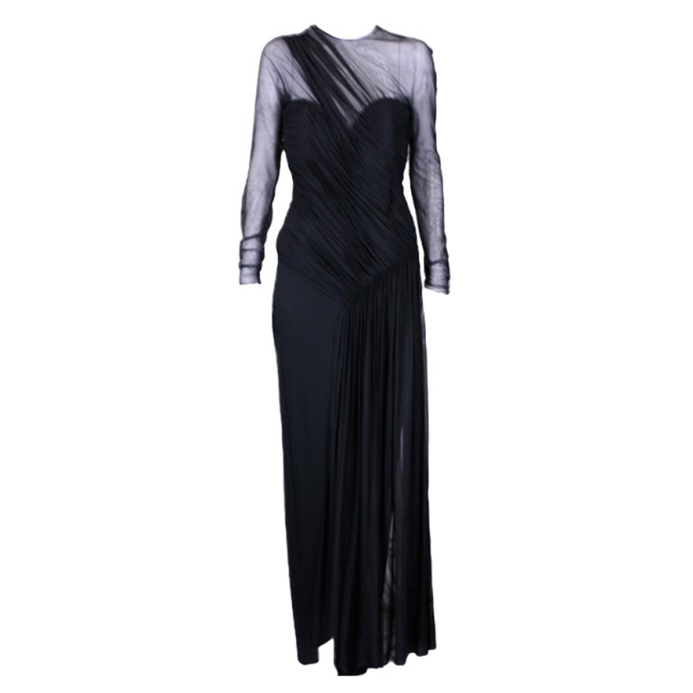 Vicky Tiel Draped Illusion and Matte Jersey Gown For Sale
