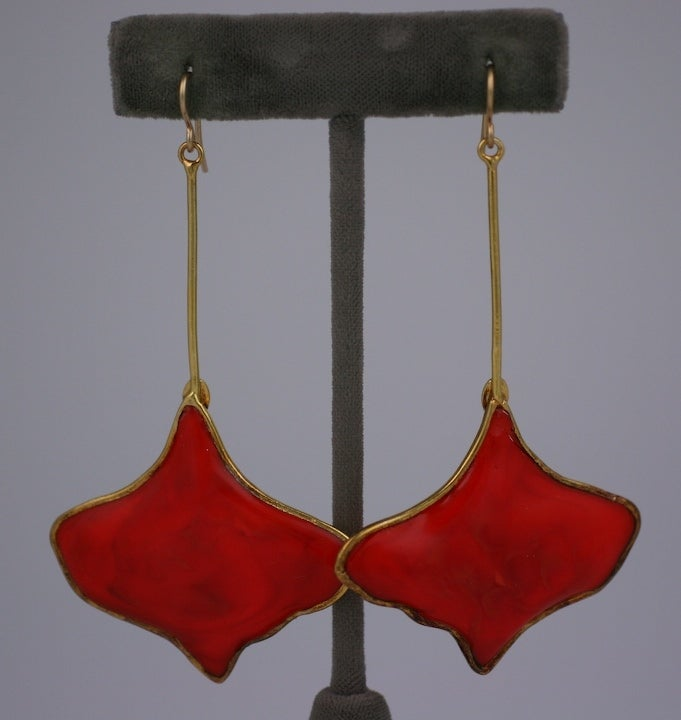MWLC Burnt Coral Poured Glass Gingko Earrings 2