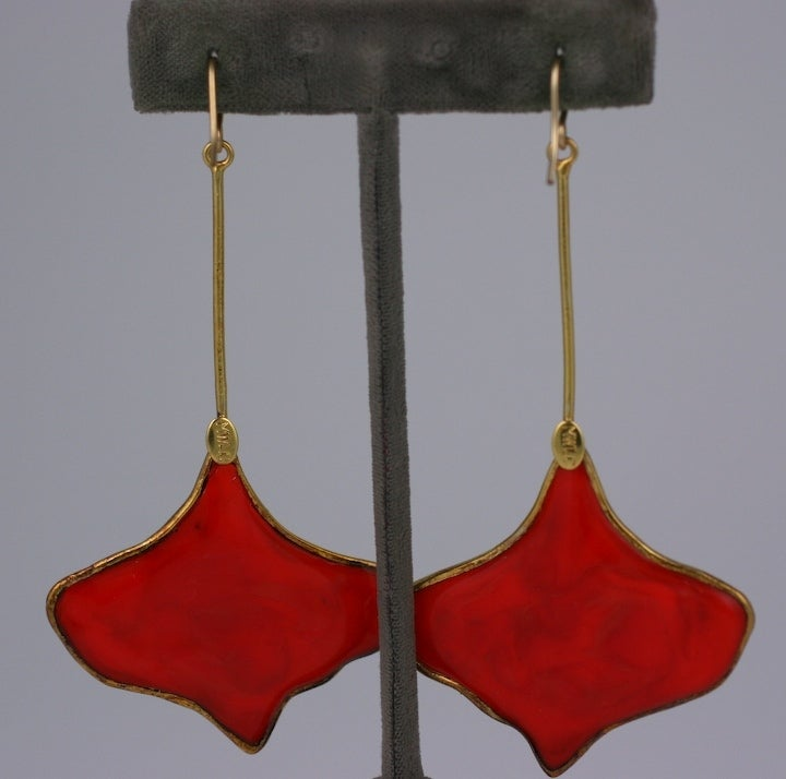 MWLC Burnt Coral Poured Glass Gingko Earrings 3