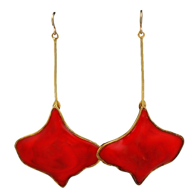 MWLC Burnt Coral Poured Glass Gingko Earrings 1