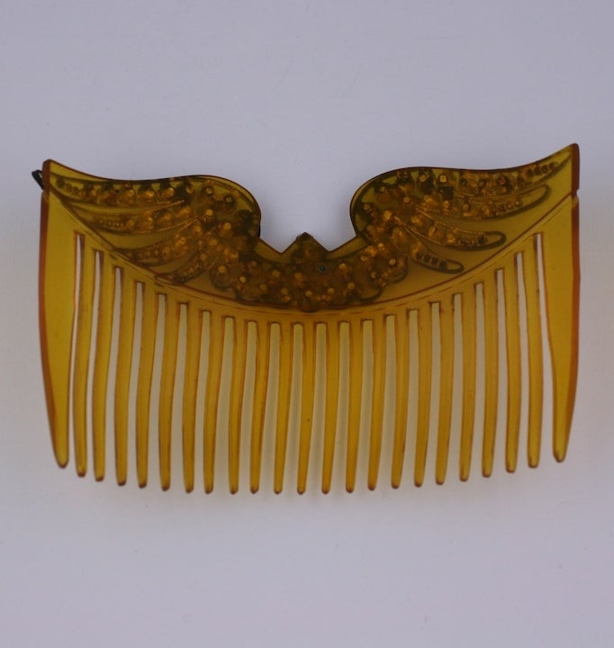 Brown Edwardian  Paste Wing Hair Comb For Sale