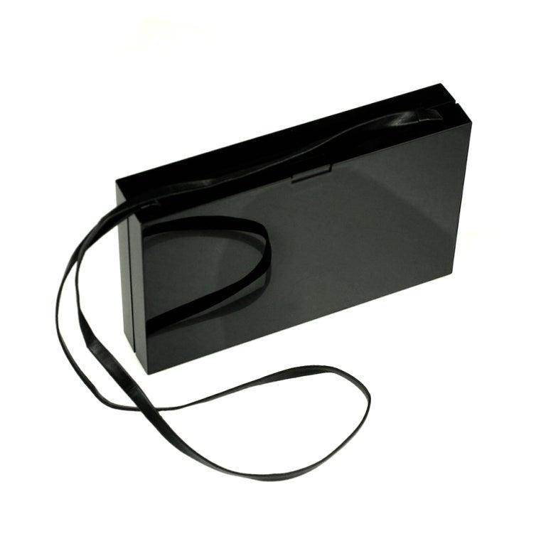 messenger basg - YSL Black Resin Clutch at 1stdibs