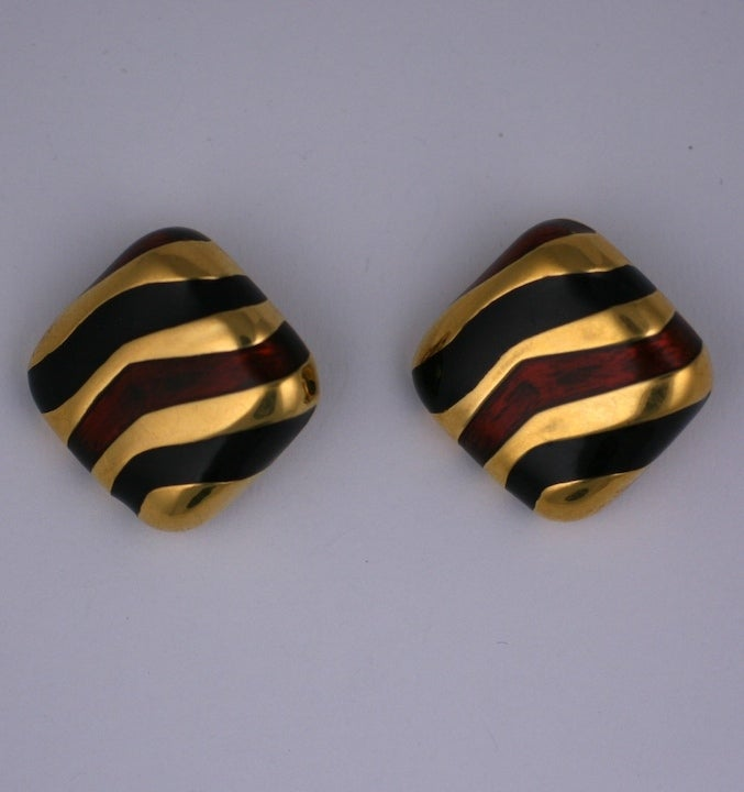 Large enamel earclips by Ciner NY in tones of brown and black on gold. 1.75