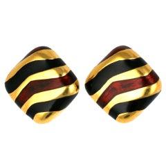 Ciner Enamel Tiger Stripe Earclips