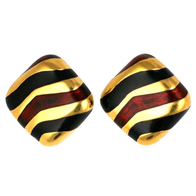 Ciner Enamel Tiger Stripe Earclips For Sale