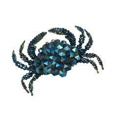 Rare Victorian Iridized Cut Steel Crab