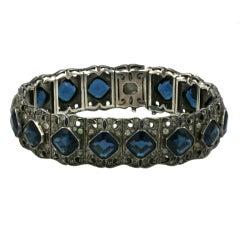 Art Deco Sapphire Paste Bracelet