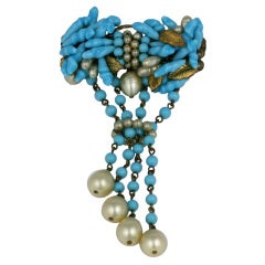 Louis Rousselet Fine Turquoise and Pearl Brooch