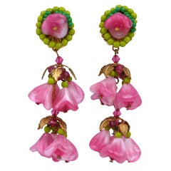 Amourelle Pate de Verre Bellflower Earrings
