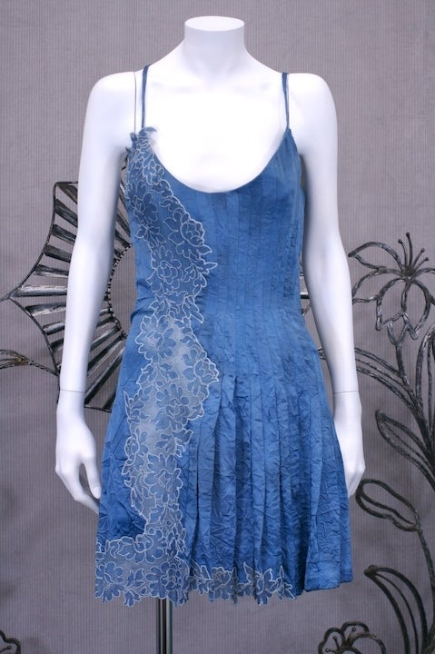 Gianni Versace Silk and Lace Denim Effect Mini image 2