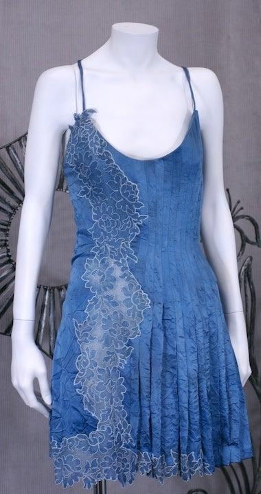 Gianni Versace Silk and Lace Denim Effect Mini 3