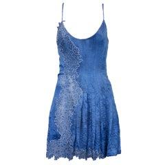 Gianni Versace Silk and Lace Denim Effect Mini