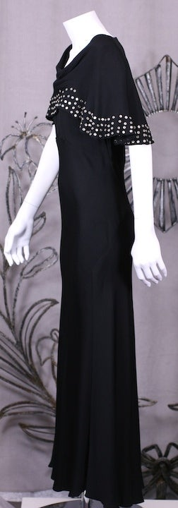 1930's Studded Black Crepe Gown For Sale 1