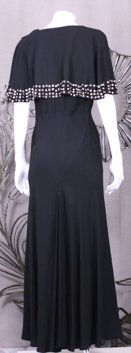 1930's Studded Black Crepe Gown For Sale 2