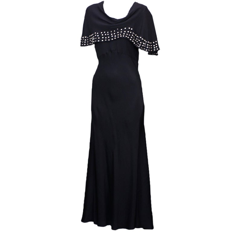 1930's Studded Black Crepe Gown For Sale