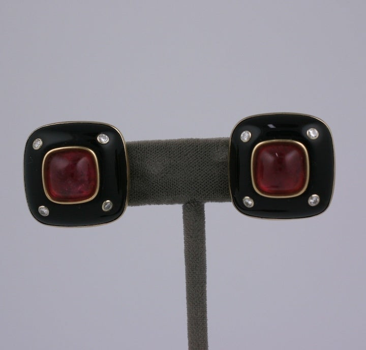 Trianon Onyx, Diamond and Pink Tourmaline Earclips image 2