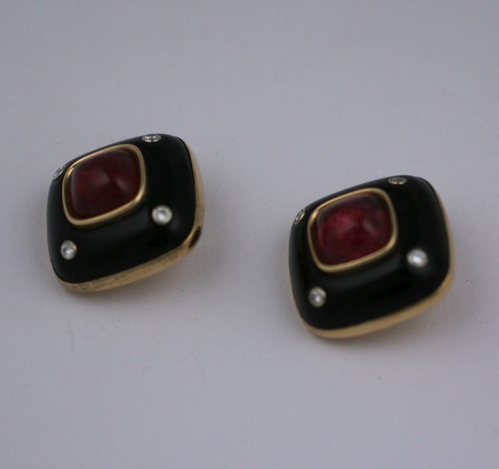 Trianon Onyx, Diamond and Pink Tourmaline Earclips image 4