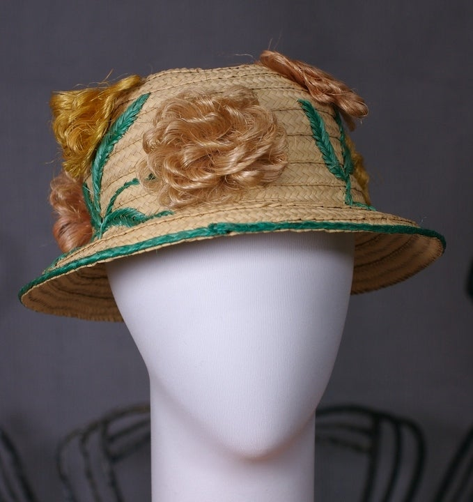 Beige Straw and Raffia Floral Bloom Hat For Sale
