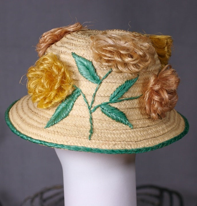 Women's Straw and Raffia Floral Bloom Hat For Sale