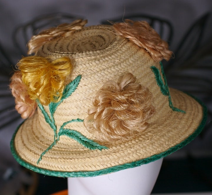 Straw and Raffia Floral Bloom Hat For Sale 1
