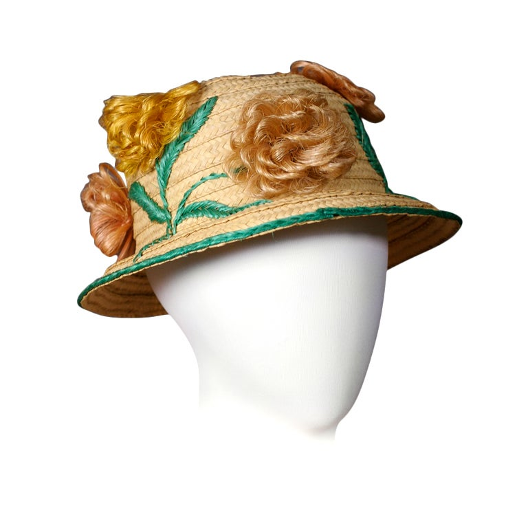 Straw and Raffia Floral Bloom Hat For Sale