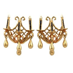 Unusual 14K Figural Candle Sconce Earrings