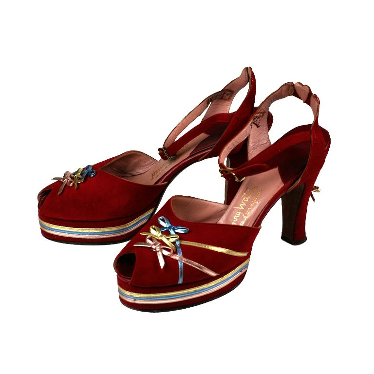 Amazing Platforms Red Suede with Metallic Accents