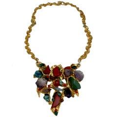 Modernist Necklace Set with Semi Precious stones.