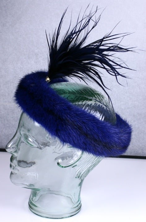 Violet blue mink head piece by Christian Dior Haute Couture with matching dyed feather aigrette wrapped in gold snakeskin. 1980's France.  Excellent condition.