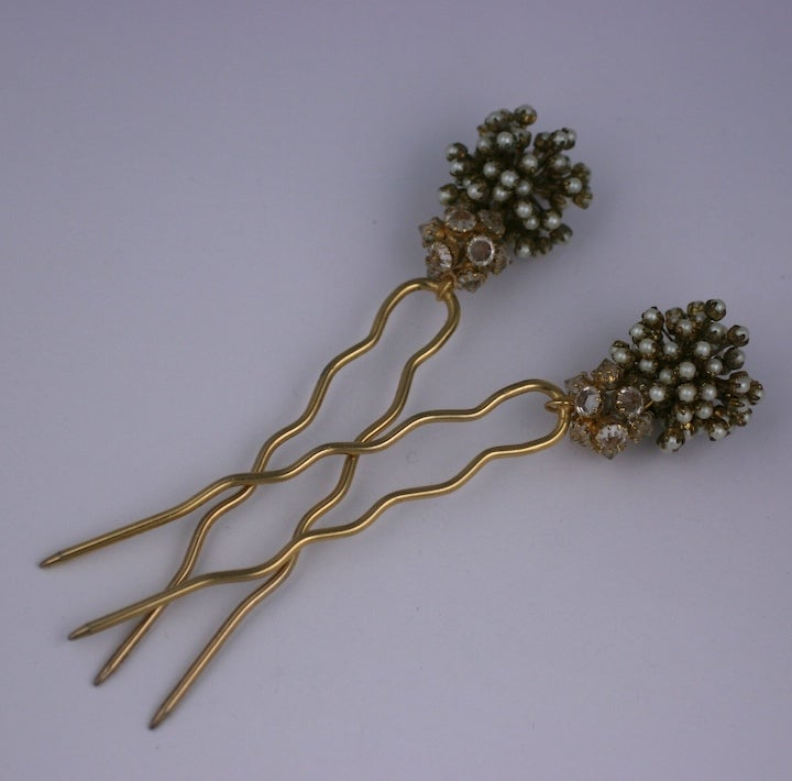 """Rare Countess Cis gilt metal crystal and pearl , hair ornaments.   6"""", 2 x 1.25"""" Countess Cis born in Vienna, she started her career in jewelry in 1951 by hand-painting cufflinks and buttons. She was quickly taken up by Pierre Balmain"""