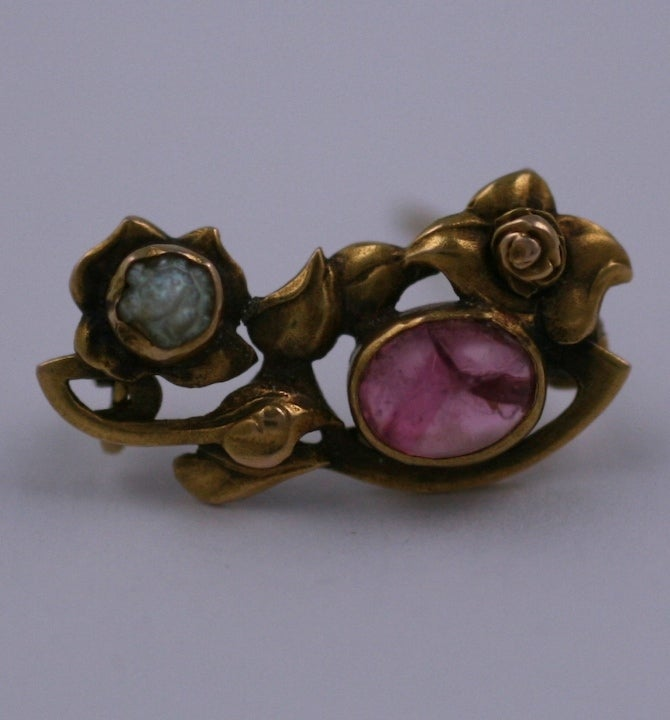 Kalo Pink Tourmaline and Pearl Brooch 2