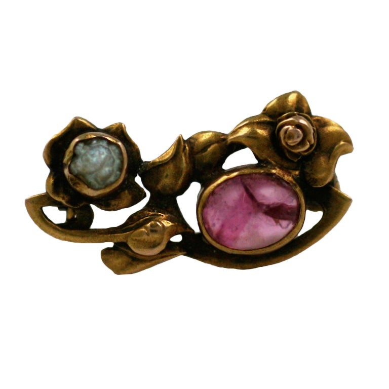Kalo Pink Tourmaline and Pearl Brooch 1