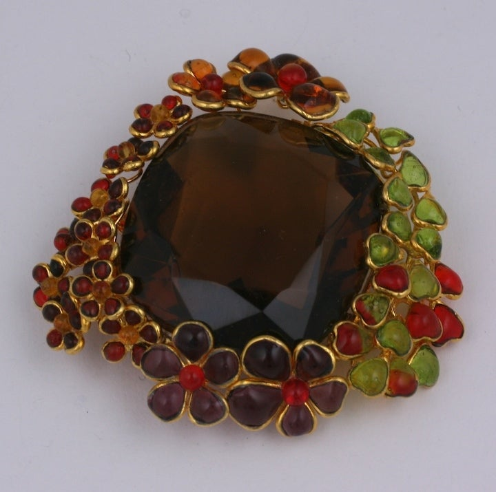 Ombre Poured Glass Floral Brooch, MWLC In New Condition For Sale In Riverdale, NY