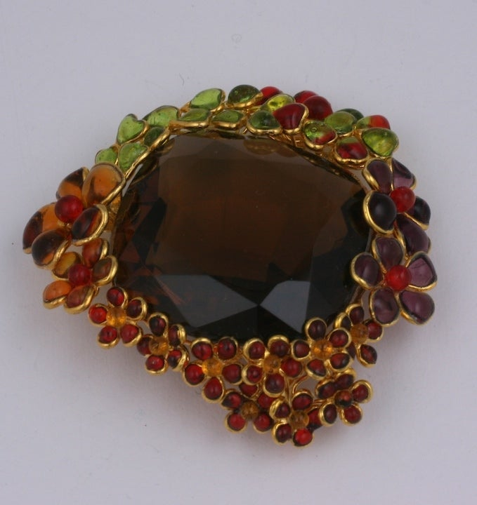 Women's Ombre Poured Glass Floral Brooch, MWLC For Sale