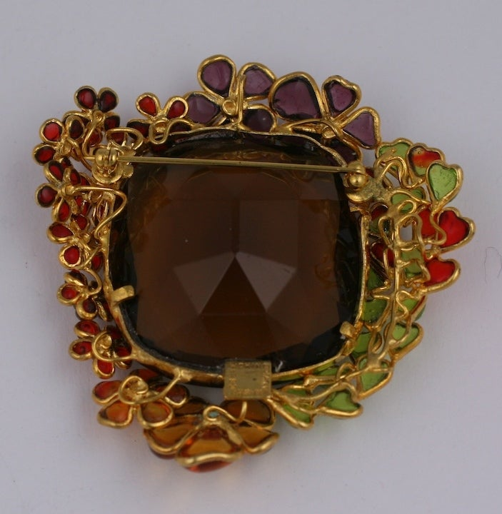 Ombre Poured Glass Floral Brooch, MWLC For Sale 1