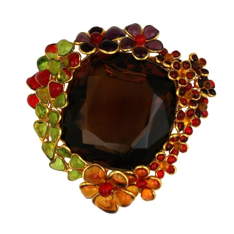 Ombre Poured Glass Floral Brooch, MWLC For Sale