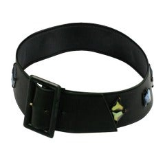 Olive Calf French Jeweled Belt