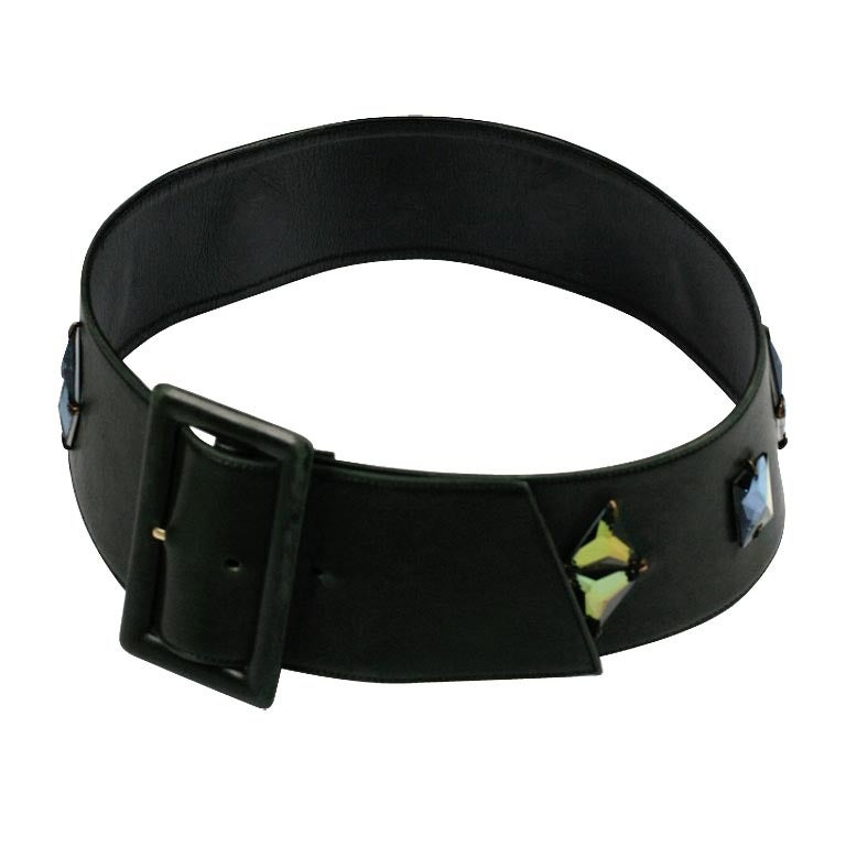 Olive Calf French Jeweled Belt For Sale