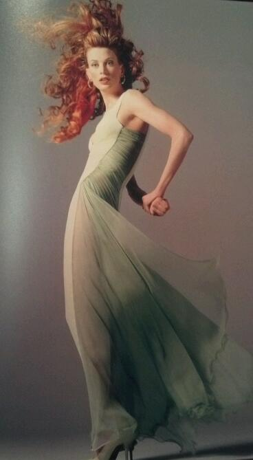 Versace Couture Seafoam Green Velvet and Chiffon Goddess Gown 6