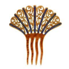 Art Deco Sapphire Paste Set Comb