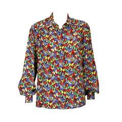 Celine Pink Butterfly Print Shirt
