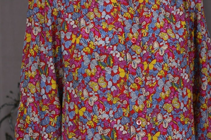 Celine Pink Butterfly Print Shirt In Excellent Condition For Sale In Riverdale, NY