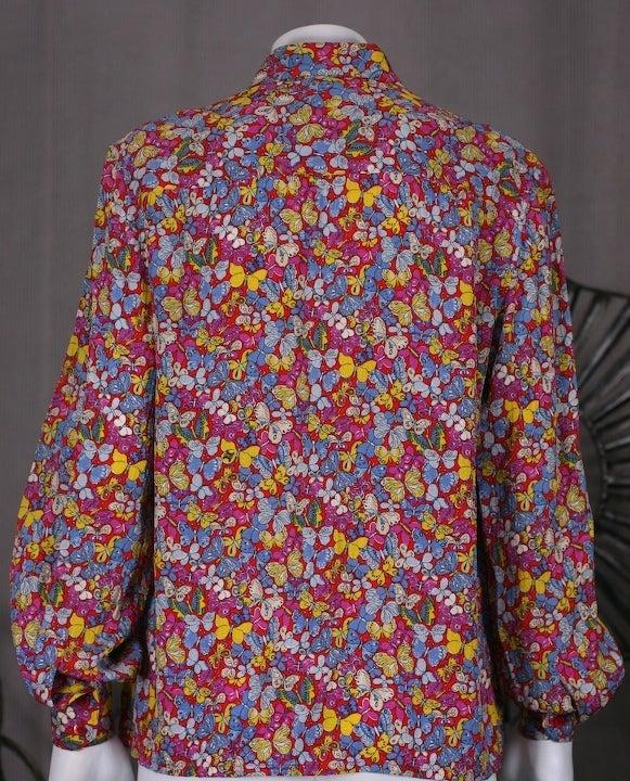 Women's Celine Pink Butterfly Print Shirt For Sale